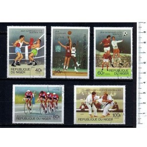 NIGER 1976-3632 Montreal's oly games  5 used stamps complete se
