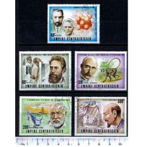 CENTRAFRICAN 1976-3726 Nobel Prizes  5 stamps used complete