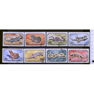 MONGOLIA 1972-2368 Reptiles  8 stamps used comple
