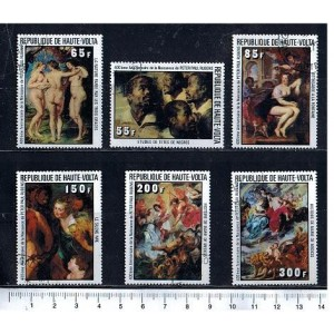 UPPER VOLTA 1977-3737 Rubens paintings  6 stamps us cpl
