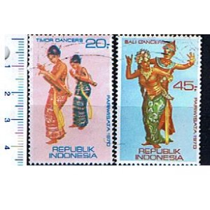 INDONESIA 1970-1378 Timor's Dancers - 3 used stamps complete