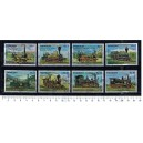 PARAGUAY 1976-3639 Locomotives - 8 stamps used comple