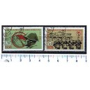 EAST GERMANY 1973-3107 20 years worker's class combats groups - Block of 4 x 2 used stamps complete set