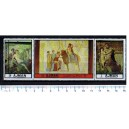 AJMAN 1972-2264/2266  Ancient wall paintings -  triptyc - 3 stamps **MNH complete set