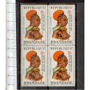 RWANDA 1973-scott 550 S-300 African hairdress ovpt.Quinzaine Africaine - Corner Block of 4 stamps **MNH