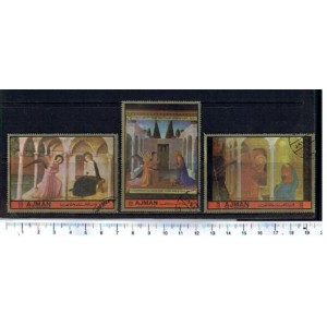 AJMAN 1972-LS 1639/1641   Religious Paintings - 3 stamps used complete set