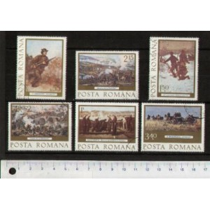 ROMANIA 1977- LS K105  PAINTINGS WITH MILITARY EVENTS - 6 stamps used complete set