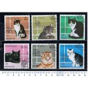 LAOS 1989-213/b Cats  6 stamps used complete set